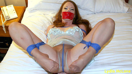 Lydia McLane gagged and bound with her legs open